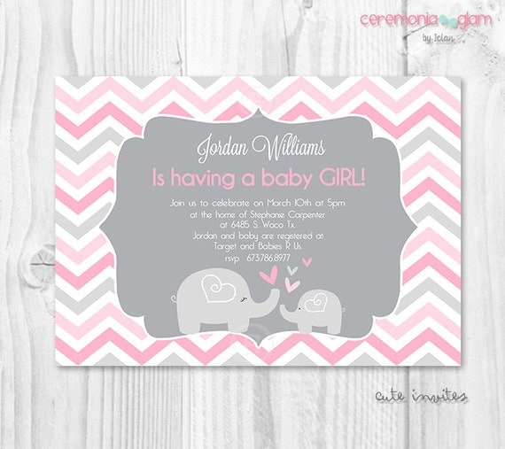 baby shower girl invitation pink and grey chevron baby shower