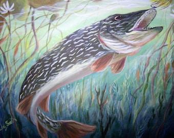 "Northern Pike Fish Print 11"" x 14"""