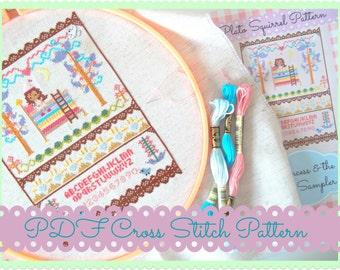 Fairy Tales Cross Stitch Pattern - The Princess and the Pea - Kawaii Cross Stitch PDF