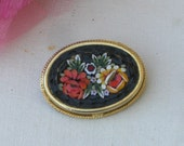Brooch - Micro Mosaic - Oval with Flowers - Vintage