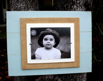 Distressed Picture Frame, Rustic 8x10 Frame,  Oversized 8x10 Picture Frame, Burlap, Holiday Gift, Wood Plank Frame, Christmas Present