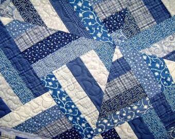 Symphony of Blues Baby Crib Blanket Lap Comforter Quilt