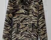 1960's Vintage Sex Kitten Tiger Animal Print Faux Fur Single Breasted Coat Jacket Made in England Small X-Small