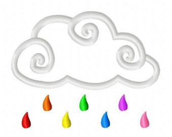 Rainbow Rain Cloud Applique Embroidery Design 4x4 5x7 INSTANT DOWNLOAD