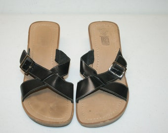 Size 8.5 Leather Wedge Sandal,wood wedge shoes,wood wedge sandals,size 8.5 shoes,size 8.5 wedges,black wedge sandals,leather wedges