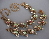 Vintage FLORENZA Watermelon Necklace Bracelet Demi Parure Aurora Borealis Rhinestone Gold Tone 1950's // Vintage Designer Costume Jewelry