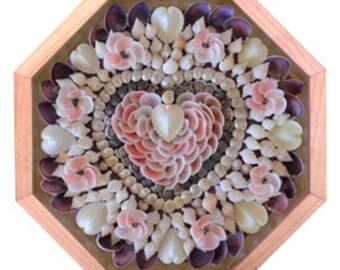 "Nantucket Sailor's Valentine Seashell Mosaic Design ""Be Mine"""