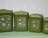 Vintage Canister Set, 4 Piece Set, Green With White Flower Design