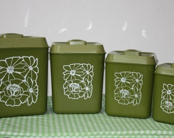 Vintage Canister Set, 4 Piece Set, Green With White Flower Design