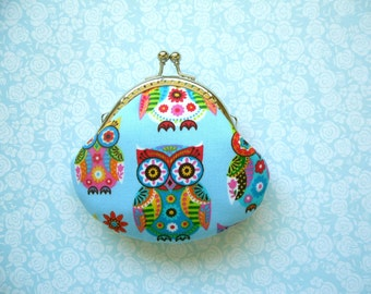 Colorful Owls Coin Purse - Handmade Gift, Birthday Gift, Holiday Gift