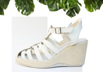 SALE % RUCO LINE Patent Leather 90s Wedges Sandals
