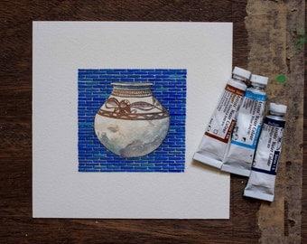 Tigris Euphrates Board Game Art - Illustration  - Vase - blue tiles - unique gift for board game fan