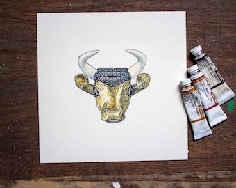 Tigris Euphrates Golden Bull Original Board Game Art - unique gift for board game fan
