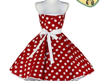 50's vintage dress red large white Polka dots corsage style Tailor Made after your measurements #0039