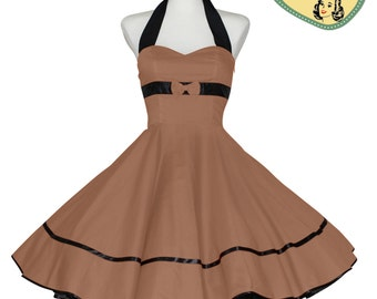 50's vintage dress uni brown embellished back Tailor Made after your measurements #0058