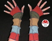 Peru Arm Warmers Fingerless Gloves Warm Sandstone Turquoise Earth Friendly Warmies Patchwork Gypsy Mittens Southwest South American Feel