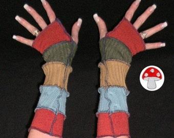 Peru Arm Warmers Fingerless Gloves Warm Sandstone Turquoise Earth Friendly Warmies Patchwork Gypsy Mittens Southwest South American Feel