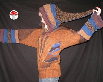 """Elf Hoodie DEPOSIT Special Order """"Spellbound"""" Pixie Pullover Size Medium / Large Chocolate Brown Carmel Sparkle Royal Blue Recycled Sweater"""