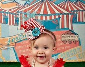 Circus Ring Master Inspired Red, White and Aqua Blue Mini Top Hat Headband (or fascinator) - Perfect Circus Birthday or Photo Prop