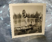 Corgi Dog on a Raft - An Original Antique Photograph