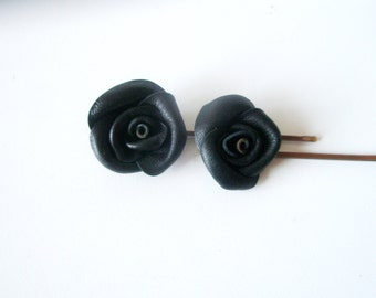 Black pin -Flower Bobby pins - Black rose pin - Black leather rose- set of two