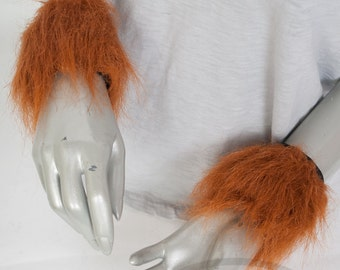 Rust / Copper Furry Wrist Poof Cuffs - Animal Costume, Rave, Goth, Cosplay