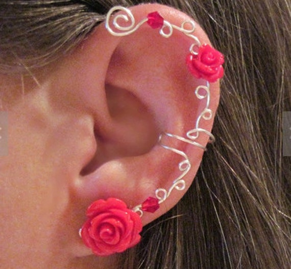 "Non Pierced Ear Cuff ""Roses are Dainty"" Cartilage Conch Cuff Silver"
