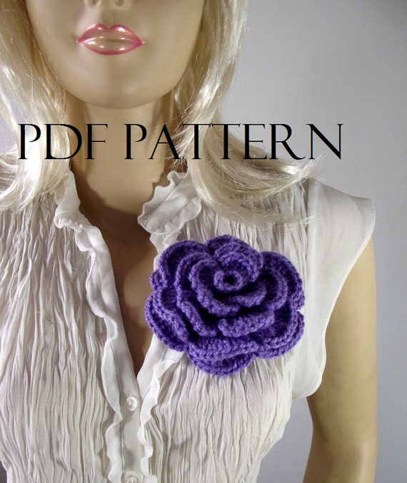 CROCHET FLOWER PATTERN Pin Embellishment Brooch flower pin pattern
