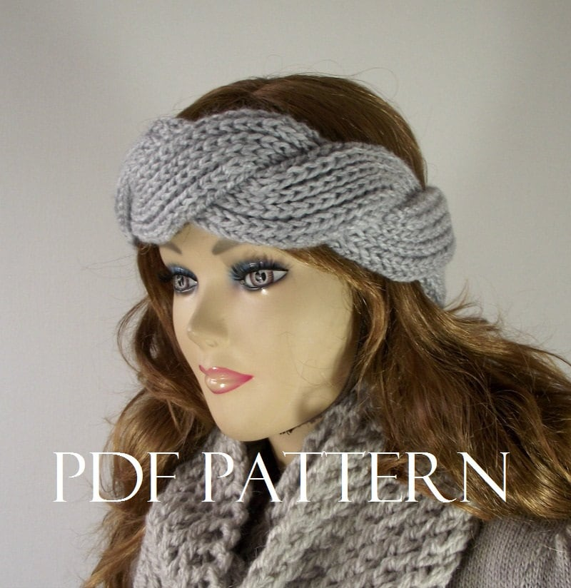 Twisted Headband Knit Pattern : KNITTING PATTERN Headband Twist Regina Headband Earwarmer