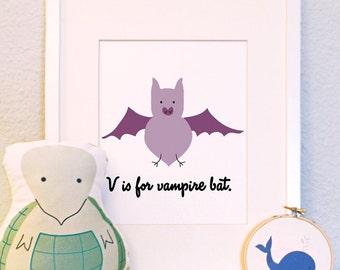 V is for Vampire Bat original woodland animal portrait nursery illustration print 8x10 5x7