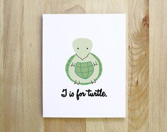 T is for Turtle woodland animal portrait nursery illustration 8x10 5x7