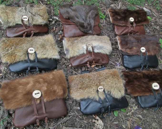 1 Viking Fur Pouch, Choose Your Bag! Leather Belt Bag, Medieval, Renaissance, Medium - THE VIKING