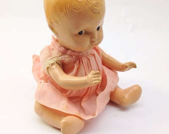 Creepy Vintage Doll - interesting chippy and distressed baby doll toy