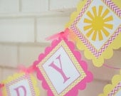 You are my sunshine banner-Little Miss Sunshine banner-Sunshine birthday banner-pink and yellow-You are my Sunshine-