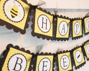 Happy Bee Day banner, Happy Bee-day banner, Bee-day, Bee Day, Bumble bee theme Happy Birthday banner