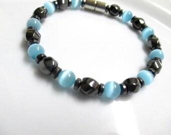 Magnetic Bracelet, Magnetic Therapy Bracelet, Light Blue Cats Eye Bracelet