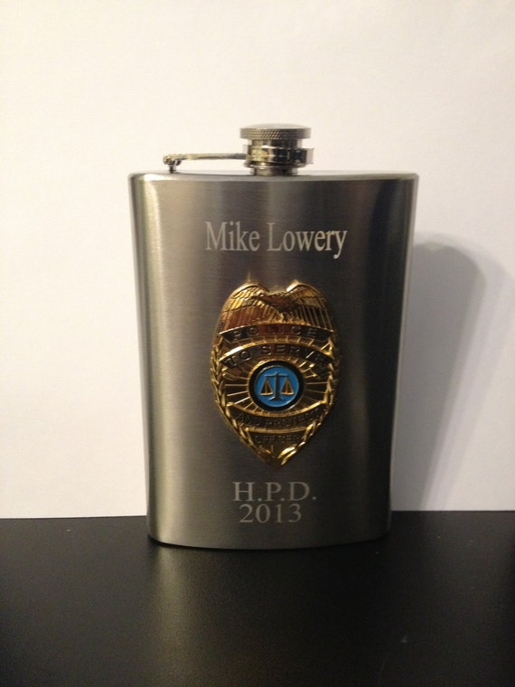 Police Flask , policeman Flask , Police Officer Flask 8oz  Stainless Steel Chrome Retirement Memorial  Free Engraving Custom Personalized
