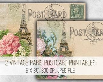 Digital Images - Digital Collage Sheet Download - Vintage Paris Postcards -  1019  - Digital Paper - Instant Download Printables