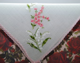 Vintage Embroidered Bridal Handkerchief