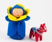 Swedish Flag Felt Doll - Blue & Yellow Miniature Waldorf Toy