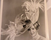 RESERVED Vintage Hollywood Photograph of Woman with Large Hat Debbie Reynolds