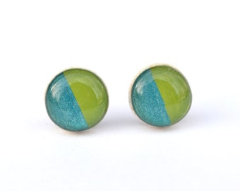 Green and turquoise Blue Stud Earrings. Colorblock studs. Gift for women. Green Studs. Blue Studs. Post Earrings. Hypoallergenic