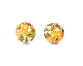 Yellow Flower Stud Earrings. girlfriend gift Yellow Floral Studs. Yellow stud Earrings. Yellow Studs. Wood Earrings. Hypoallergenic.
