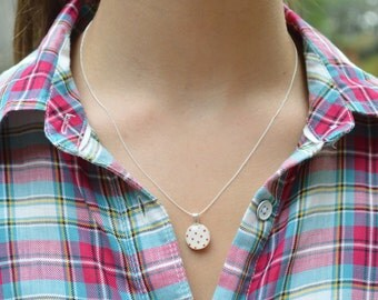 Tiny red Polka dot necklace tiny pendant necklace polka dot jewelry casual jewelry retro jewelry by starlight woods