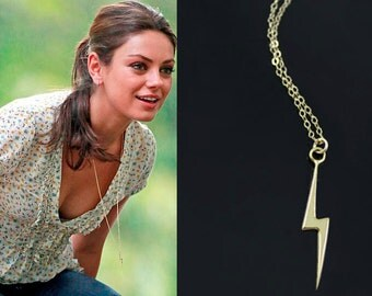 Mila Kunis Inspired Necklace, Friends With Benefits Necklace, Lightning Bolt Sterling Silver, 24K Vermeil Pendant and 14K Gold Filled Chain