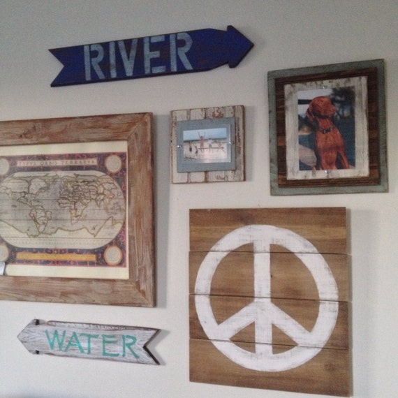 Rustic Wood Wall Decor Painted Peace Sign By Shoponelove