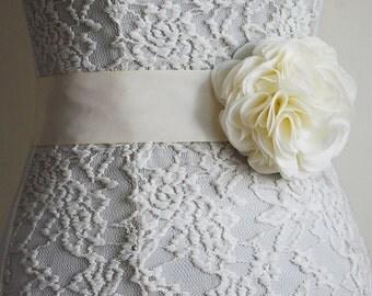 Ivory Bridal Sash Belt, Wedding Flower Belt, Bridesmaid, Dress, White, Flower Girl, Belt and Sashes, Flower Chiffon Belt
