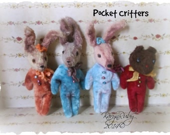 PDF EPattern  to make 5 inch 'Pocket Critters'   Vintage Style Viscose or  Mohair Rabbit or Bear  by Artist KarynRuby