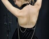Brass Triangle Body Harness // Ivory Enamelled Brass Chain // Vest // Body Chain