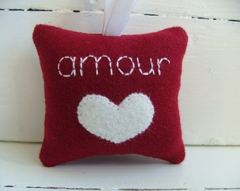 "Red Valentine's Day Decoration French Inspired ""amour"" love with White Heart and Ribbon Decoration"